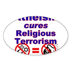 Atheism Cures Terrorism Rectangle Sticker (Oval 10 pk)