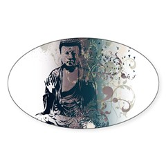 Pretty Buddha Rectangle Sticker (Oval 10 pk)
