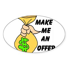 MAKE AN OFFER Rectangle Sticker (Oval 10 pk)