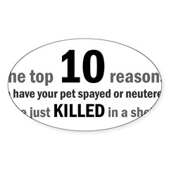 10 Reasons to Spay/Neuter Rectangle Sticker (Oval 10 pk)