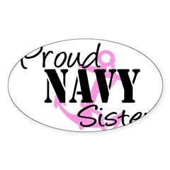 Proud Navy Sister - Pink Anch Sticker (Rectangular Sticker (Oval 10 pk)