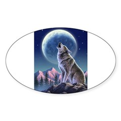 Howling Wolf 1 Rectangle Sticker (Oval 10 pk)