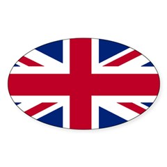 Union Jack Rectangle Sticker (Oval 10 pk)