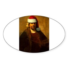 Rembrandt Santa Rectangle Sticker (Oval 10 pk)