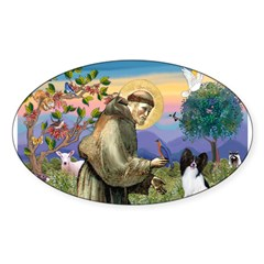 St Francis & Papillon Rectangle Sticker (Oval 10 pk)