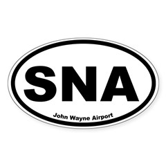 John Wayne Airport Oval Sticker (Oval 10 pk)