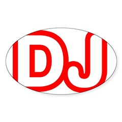 DJ Rectangle Sticker (Oval 10 pk)