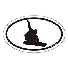 Snowboarding Euro Oval Sticker (Oval 10 pk)
