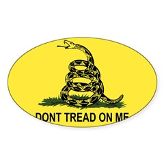 Gadsden Flag Rectangle Sticker (Oval 10 pk)