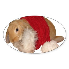 """Xmas Bunny 1"" Rectangle Sticker (Oval 10 pk)"