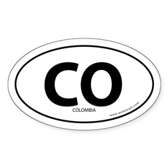Colombia country bumper sticker -White (Oval) Sticker (Oval 10 pk)