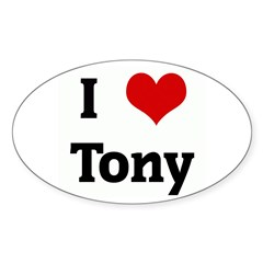 I Love Tony Rectangle Sticker (Oval 10 pk)