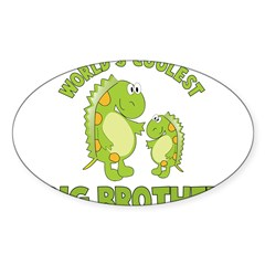 world's coolest big brother dinosaur Sticker (Oval 10 pk)