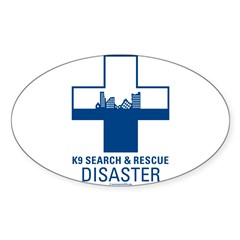 K9 Crosses - Disaster Search Rectangle Sticker (Oval 10 pk)