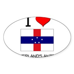 I Love Netherlands Antilles Sticker (Oval 10 pk)