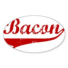 Bacon (red vintage) Sticker (Oval 10 pk)