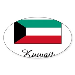 Kuwait Flag Rectangle Sticker (Oval 10 pk)