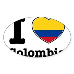 I love Colombia Rectangle Sticker (Oval 10 pk)