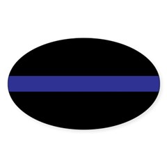 Thin Blue Line Rectangle Sticker (Oval 10 pk)