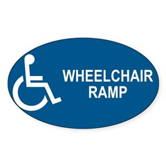 Wheelchair Ramp Notice Rectangle Sticker (Oval 10 pk)