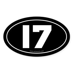 #17 Euro Bumper Oval Sticker -Black Sticker (Oval 10 pk)