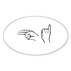 ASL greeting Rectangle Sticker (Oval 10 pk)