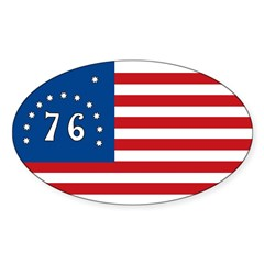 Bennington Battle Flag Rectangle Sticker (Oval 10 pk)