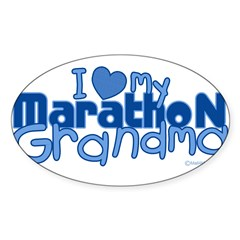 I Love My Marathon Grandma Rectangle Sticker (Oval 10 pk)