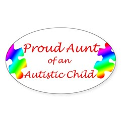 Autism Aunt Sticker (Oval 10 pk)