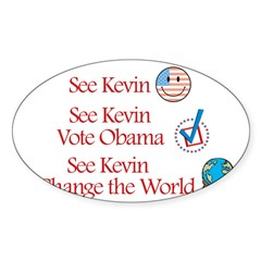 See Kevin Vote Obama Rectangle Sticker (Oval 10 pk)