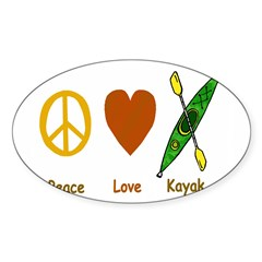 Peace,Luv,Kayak Sticker (Oval 10 pk)