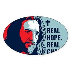 Real Hope. Real Change. Rectangle Sticker (Oval 10 pk)