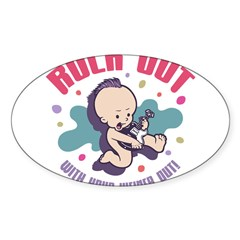 Rock Out Rectangle Sticker (Oval 10 pk)