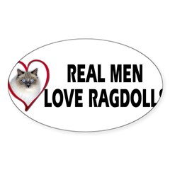 Real Men Love Ragdolls Sticker (Oval 10 pk)