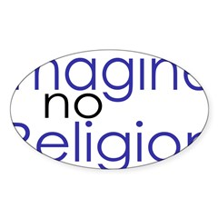 Imagine no Religion Rectangle Sticker (Oval 10 pk)