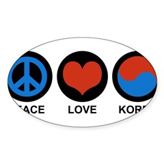 Peace Love Korea Rectangle Sticker (Oval 10 pk)