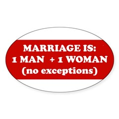 Marriage is 1 Man + 1 Woman Sticker (Oval 10 pk)
