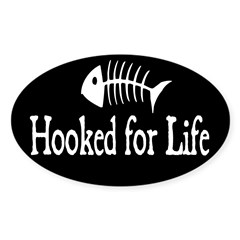 Hooked for Life Oval Sticker (Oval 10 pk)