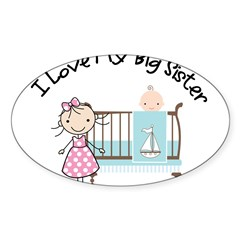 little brother big sister matching shirt Sticker (Oval 10 pk)
