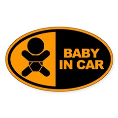 Baby in Car Safety Sticker for Car Sticker (Oval 10 pk)