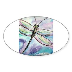 Dragonfly, Beautiful, Sticker (Oval 10 pk)