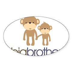 Big Brother Monkey Sticker (Oval 10 pk)