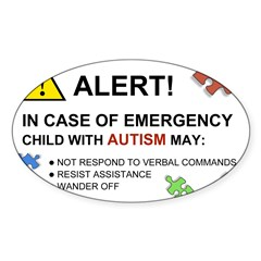 Autism Emergency Warning Sticker for Car Sticker (Oval 10 pk)