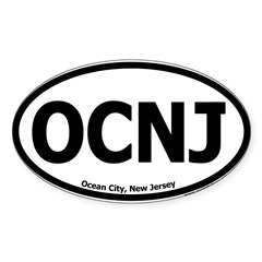 "Ocean City, New Jersey ""OCNJ"" Oval Sticker (Oval 10 pk)"