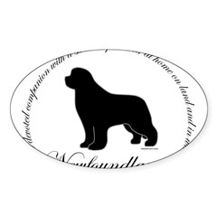 Devoted Black Newf Sticker (Oval 10 pk)