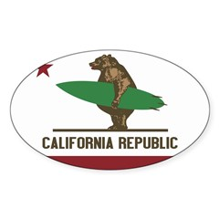 California Surfing Bear Flag Sticker (Oval 10 pk)