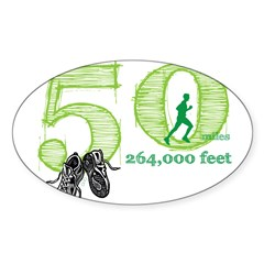50 Mile Ultra Marathon Men Sticker (Oval 10 pk)
