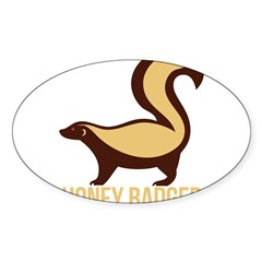 Honey Badger BadAs Sticker (Oval 10 pk)