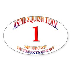 Aspie Squish Team Oval Sticker (Oval 10 pk)