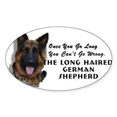 New Item! Long Haired German Shepherd Sticker (Oval 10 pk)